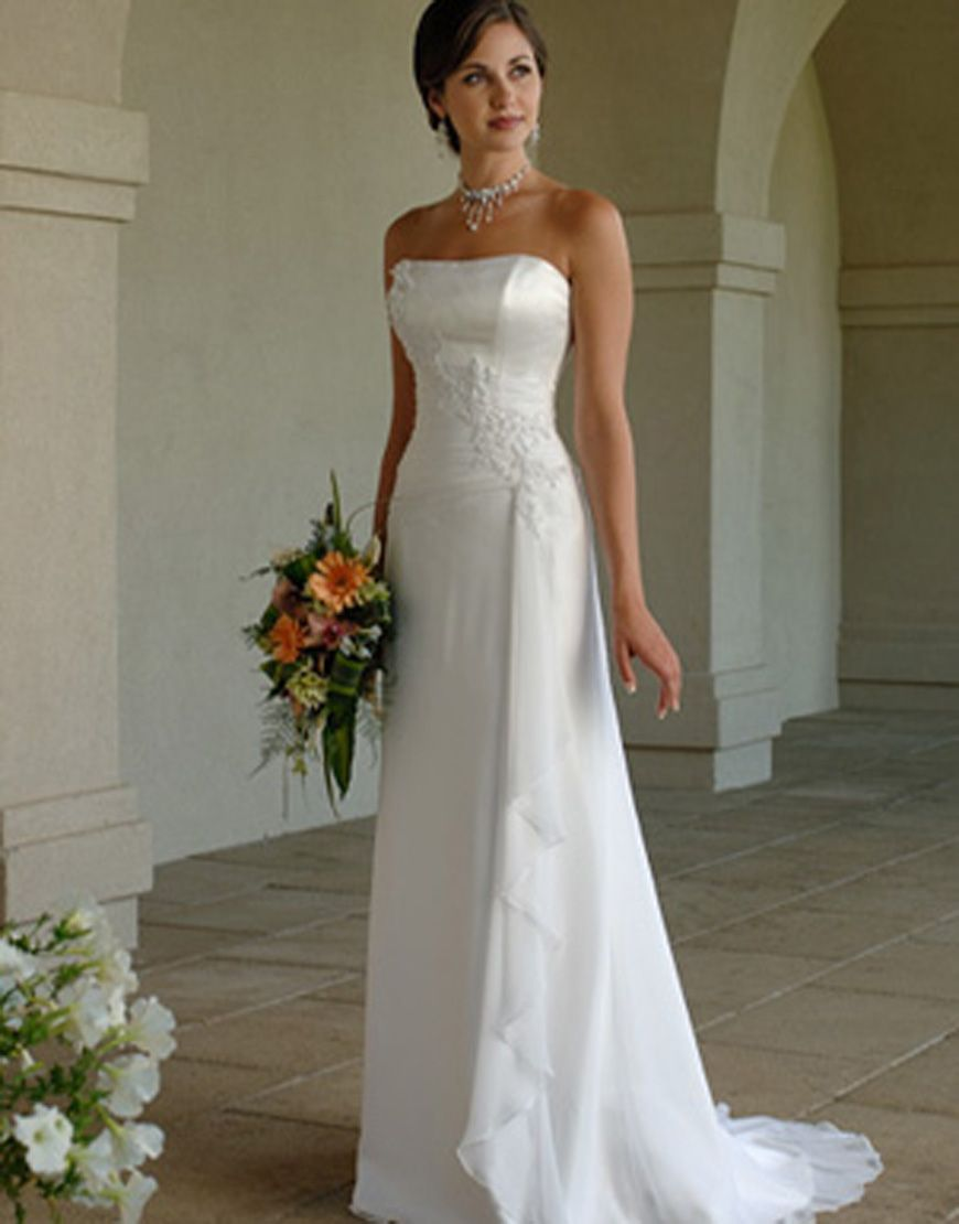 Свадебные платья прямые со шлейфом